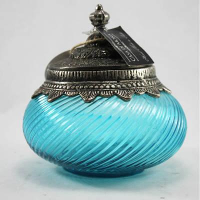 - Eskitme Dekoratif Cam Obje (Mavi)