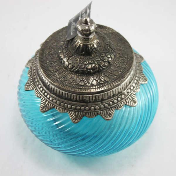 Eskitme Dekoratif Cam Obje (Mavi)