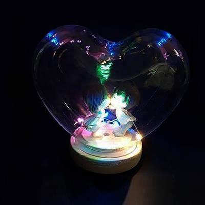 - Işıklı Kalp İçinde Öpüşen Sevgili Biblosu