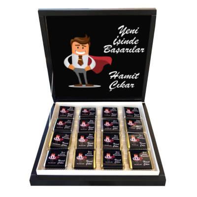 - Kişiye Özel Yeni İş Tebrik Çikolatası Siyah