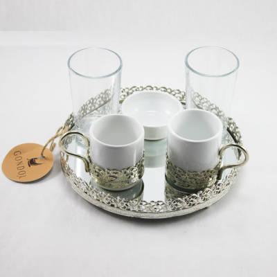 - Lüks Aynalı 2'li Türk Kahvesi Seti