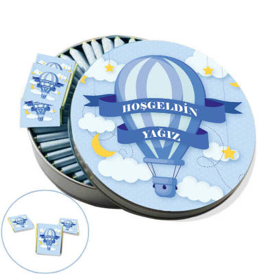 - Metal Kutuda İsme Özel Balon Bebek Çikolatası