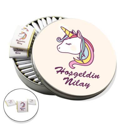 - Metal Kutuda İsme Özel Baskılı Bebek Çikolatası (Unicorn)