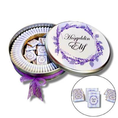 - Metal Kutuda İsme Özel Bebek Çikolatası 72 Adet Madlen