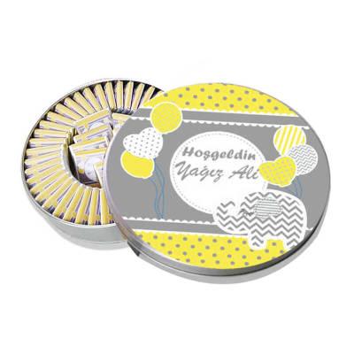 - Metal Kutuda Sarı Gri Balonlu Bebek Çikolatası