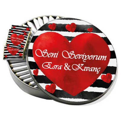 - Metal Kutuda Seni Seviyorum Sevgiliye Çikolata