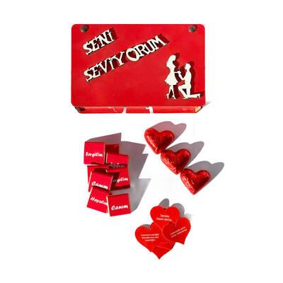 - Seni Seviyorum Ahşap Kutuda Sevgiliye Çikolata