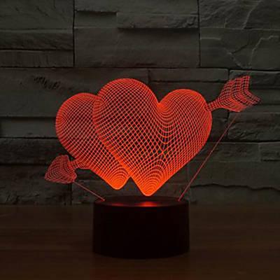 - Sevgiliye 3D Kalpli Gece Lambası