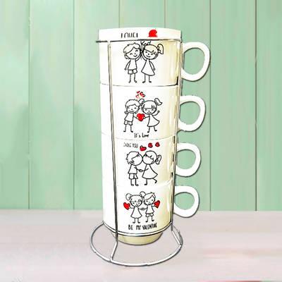 - Sevgiliye 4'lü Kahve Fincanı Seti