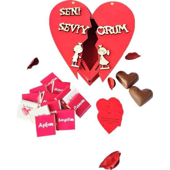 Sevgiliye Çikolata Dolu Ahşap Kalp Kutu