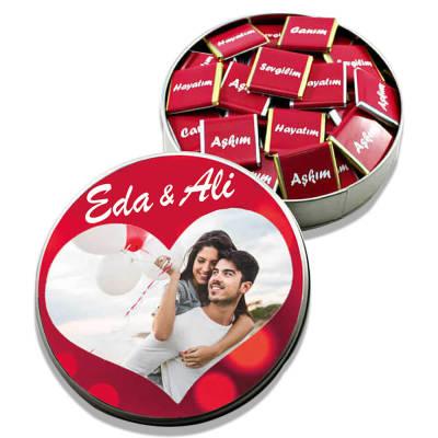 - Sevgiliye Metal Kutuda Fotoğraflı Çikolata