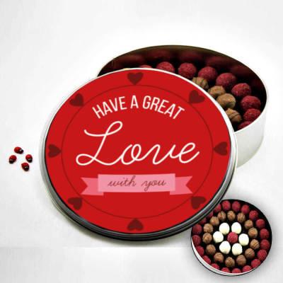 - Sevgiliye Metal Kutuda Karışık Truf Çikolata (Büyük Boy)