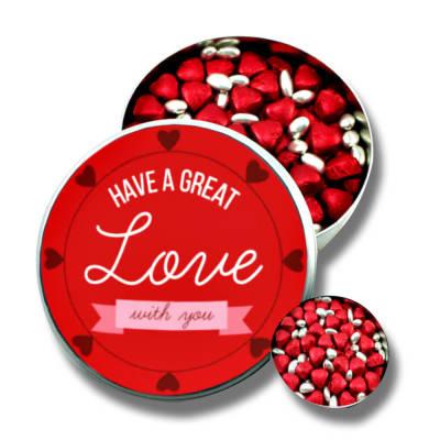 - Sevgiliye Metal Kutuda Kırmızı Kalpli Çikolata+Gümüş Draje (Orta Boy)