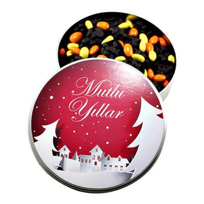 - Yeni Yıla Özel Metal Kutuda Bitter Roş Çikolata + Badem Şekeri (Orta Boy)
