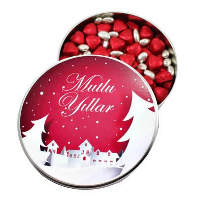 - Yeni Yıla Özel Metal Kutuda Kırmızı Kalpli Çikolata+Gümüş Draje(Orta Boy)