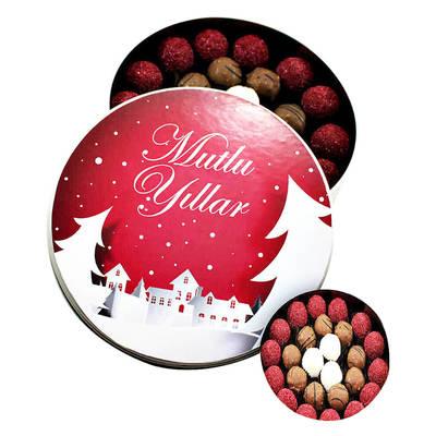 - Yeni Yıla Özel Metal Kutuda Karışık Truf Çikolata(Orta Boy)